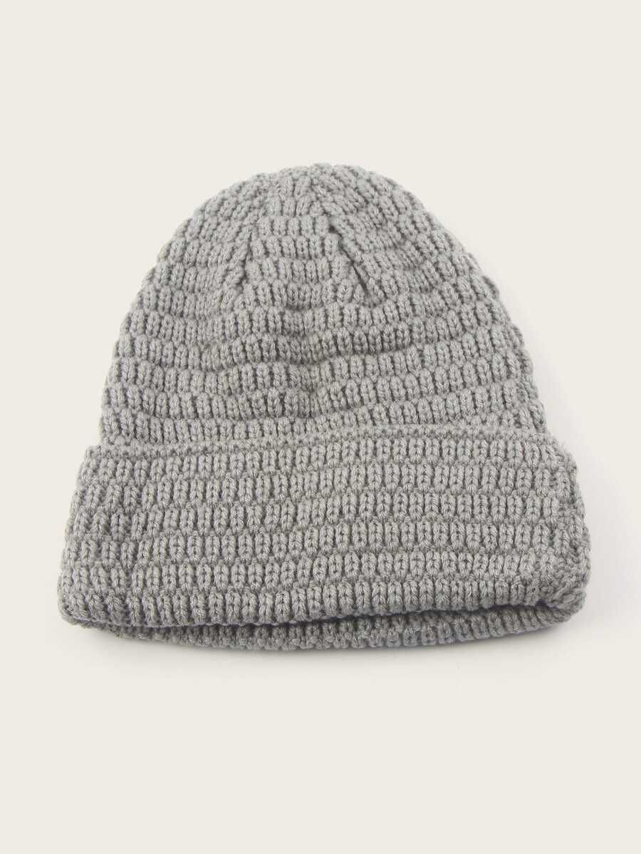 Grey Cuffed Beanie Hat