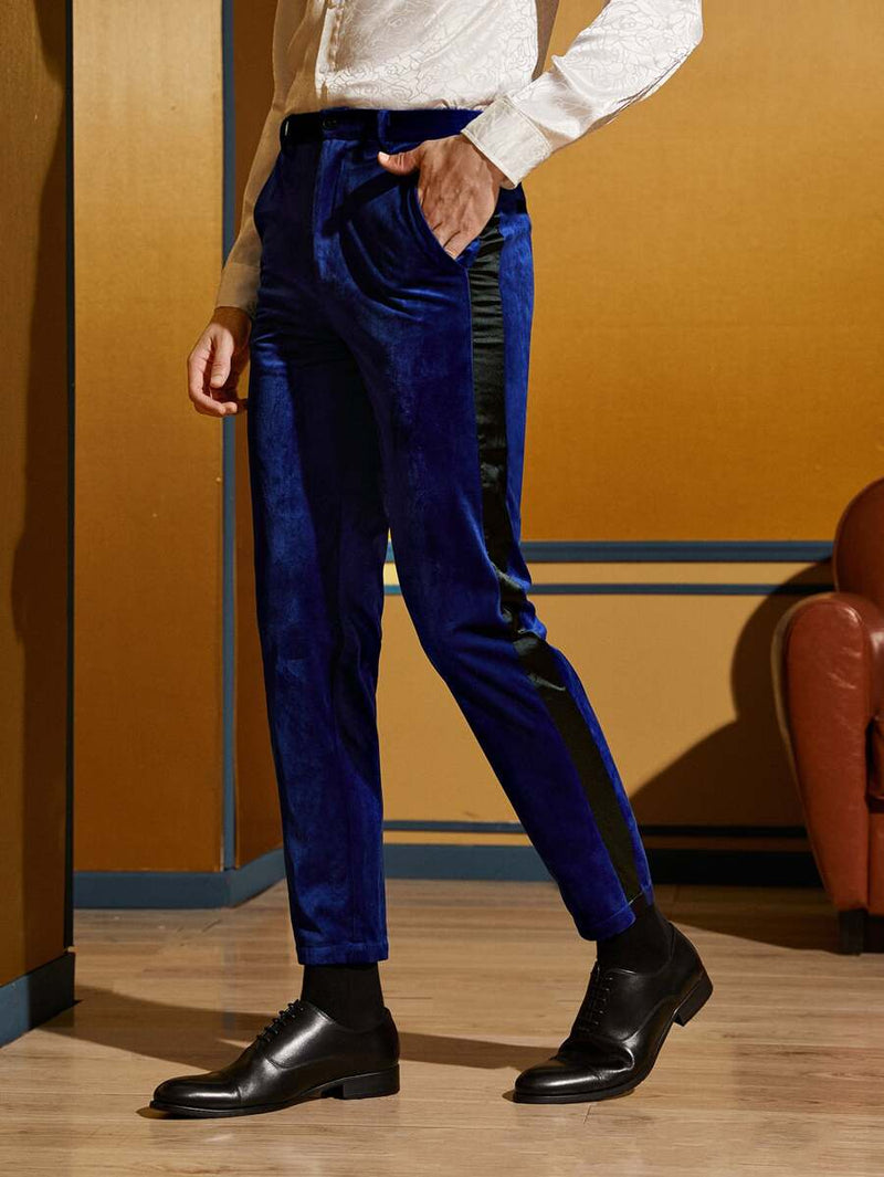 Satin Side Seam Velvet Tailored Pants