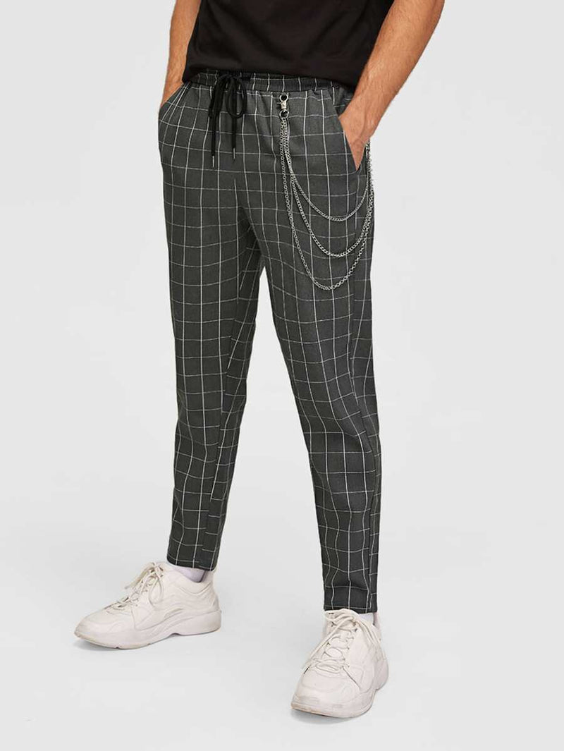 Plaid Pants WIth Chain