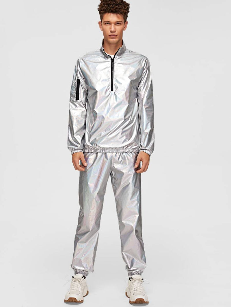 Metallic Jacket And Pants Set