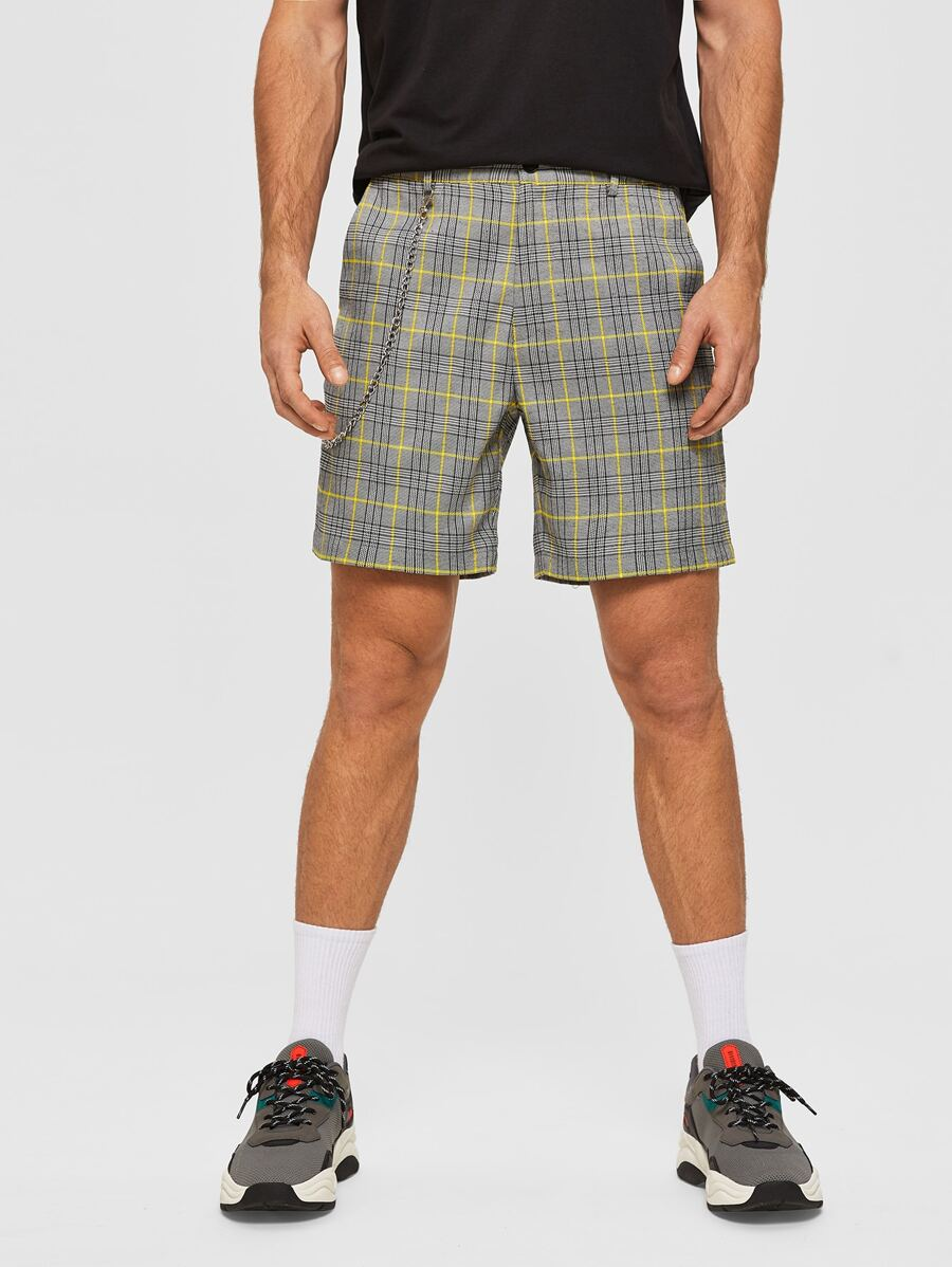 Plaid Shorts with Chain