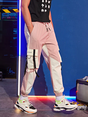 Pink And White Colorblock Pants