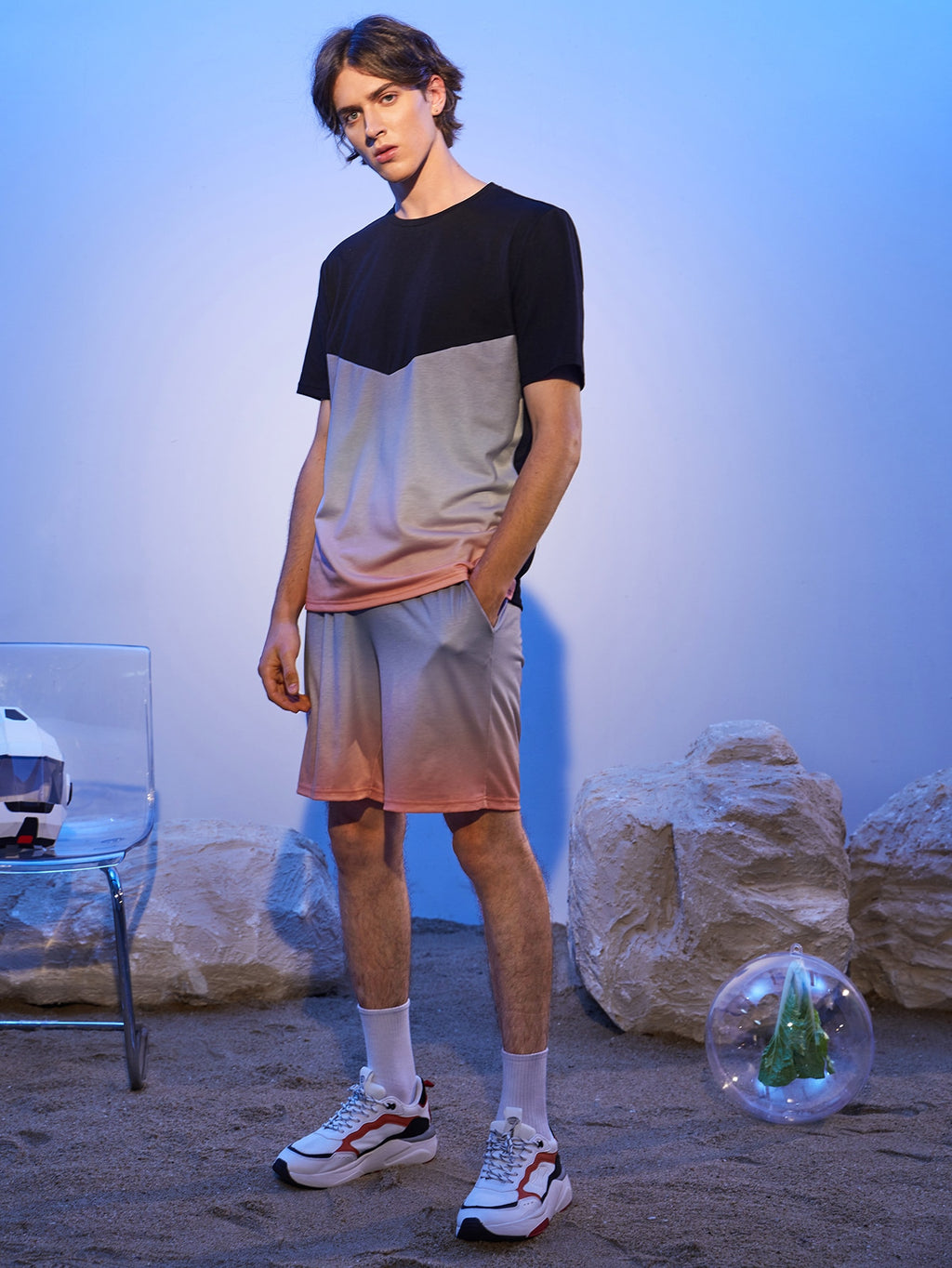 Ombre T-Shirt And Shorts Set - This Is For Him