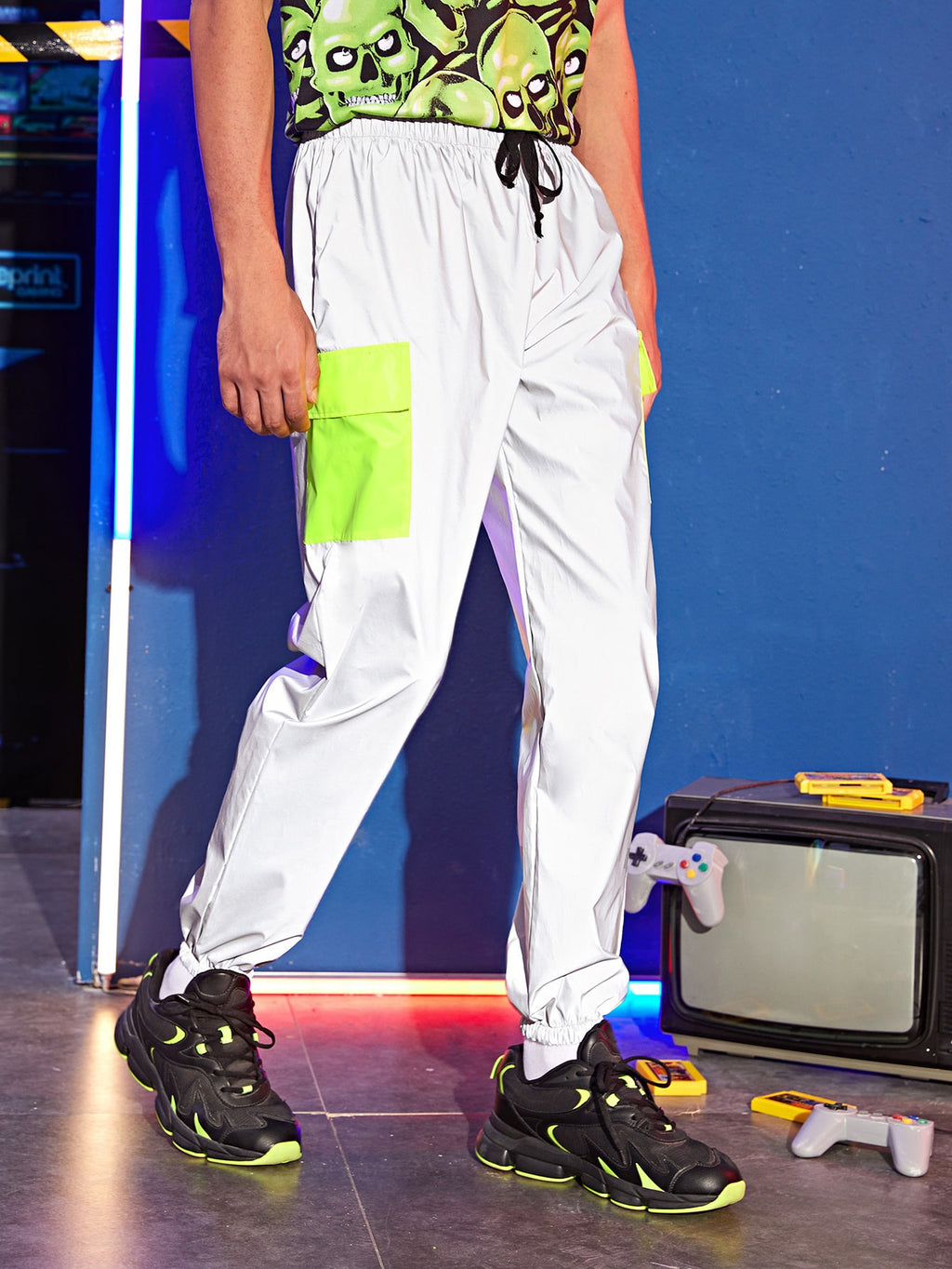 Neon Green Pocket Reflective Sweatpants - This Is For Him