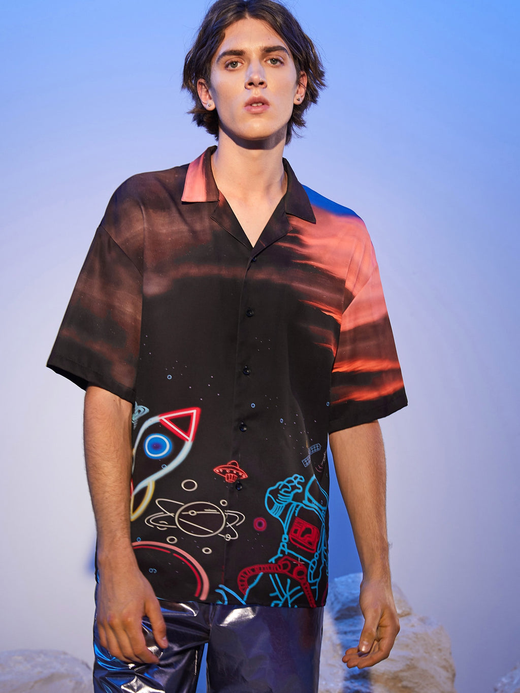 Neon Space Print Short Sleeve Shirt - This Is For Him