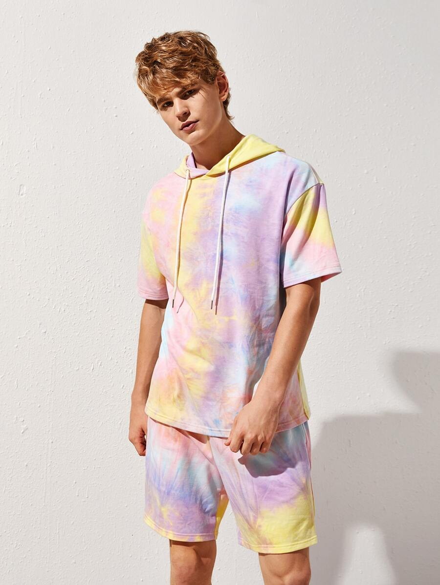 Tie Dye Short Sleeve Hooded Top and Shorts Set