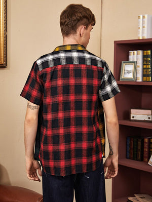 Tartan Colorblock Short Sleeve Shirt