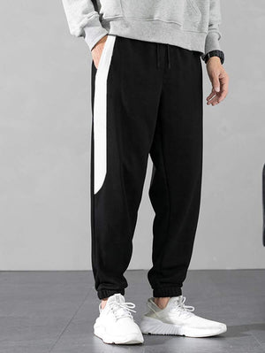 Black With White Contrast Panel Drawstring Pants 3