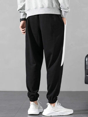 Black With White Contrast Panel Drawstring Pants 2