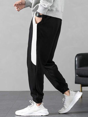 Black With White Contrast Panel Drawstring Pants 4