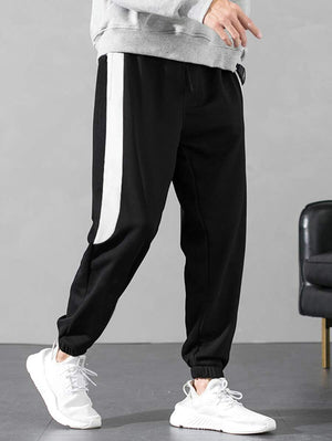 Black With White Contrast Panel Drawstring Pants