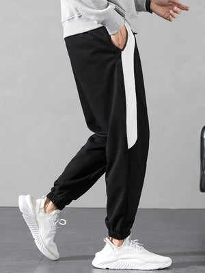 Black With White Contrast Panel Drawstring Pants 5