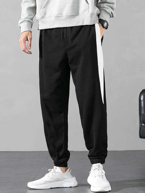 Black With White Contrast Panel Drawstring Pants 6