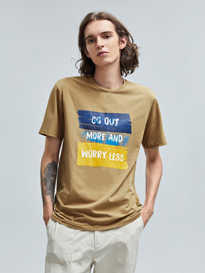 Go Out More And Worry Less Brown T-Shirt