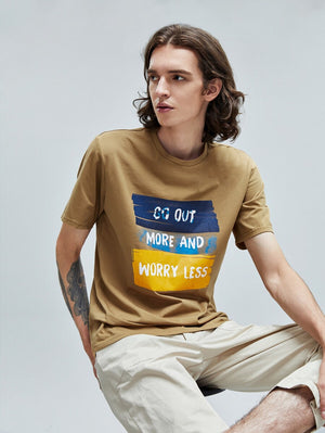 Go Out More And Worry Less Brown T-Shirt 3