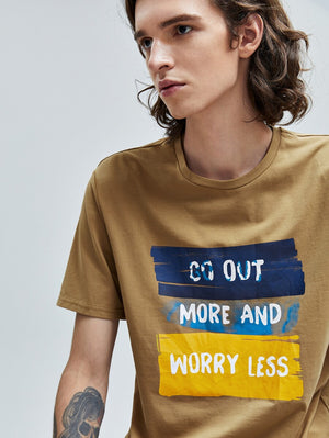 Go Out More And Worry Less Brown T-Shirt 5