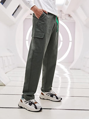Dark Grey Pocket Buckle Cargo Pants