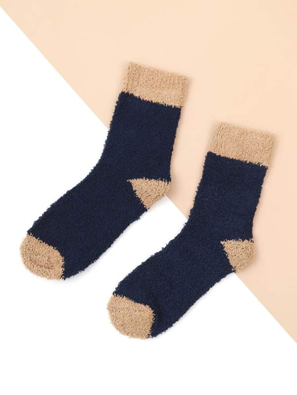 Navy Fuzzy Socks