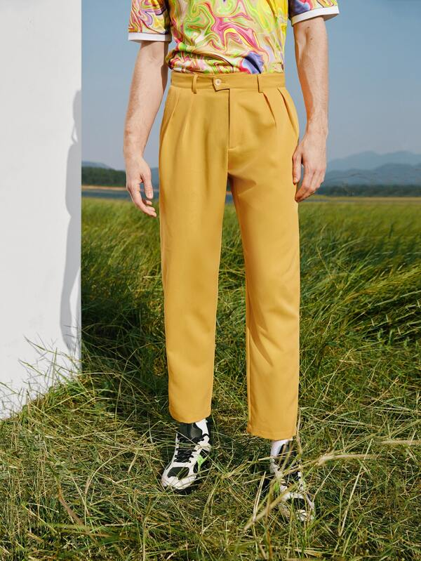 Mustard Pleated Tailored Pants