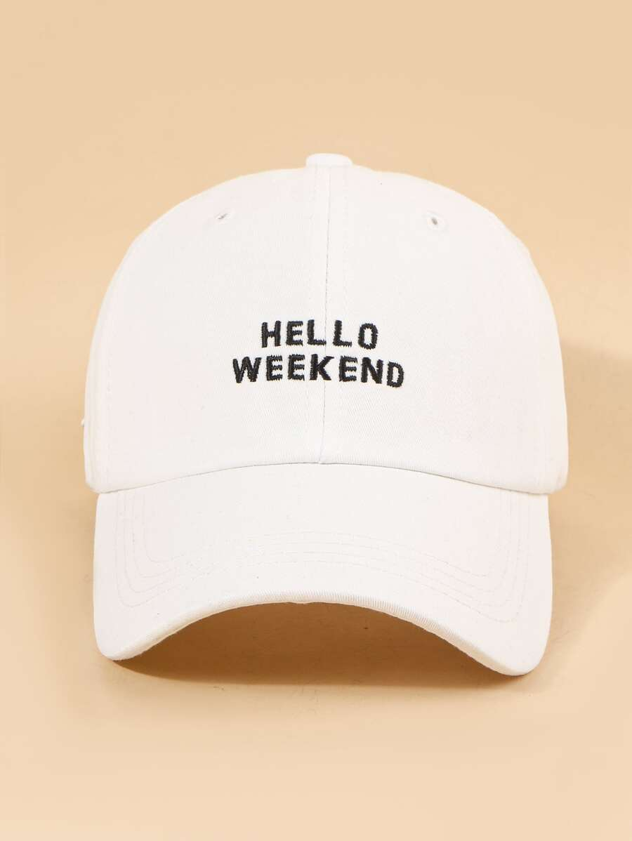 Hello Weekend Cap in White Color