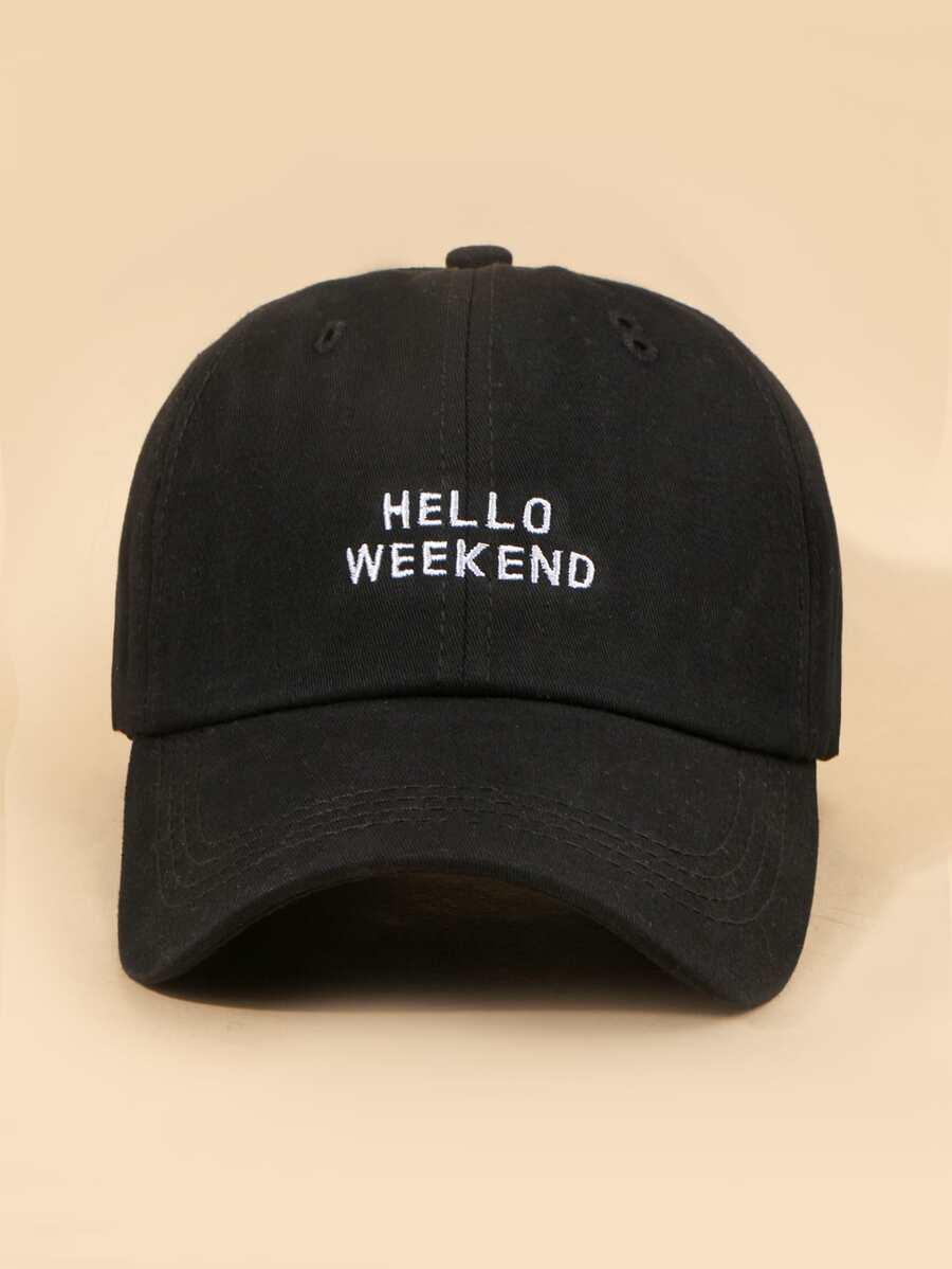 Hello Weekend Cap in Black Color
