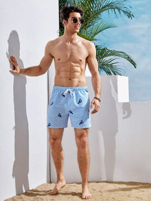 Lobster Gingham Print Swim Shorts 2