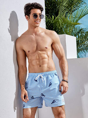 Lobster Gingham Print Swim Shorts 5