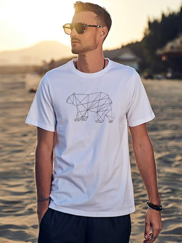 White T-Shirt With Bear Print