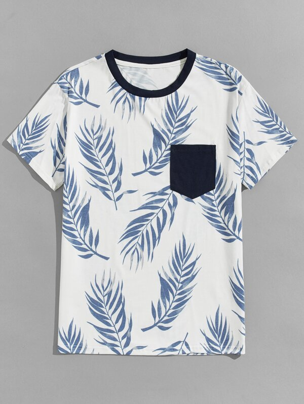 Leaf Print Pocket T-Shirt