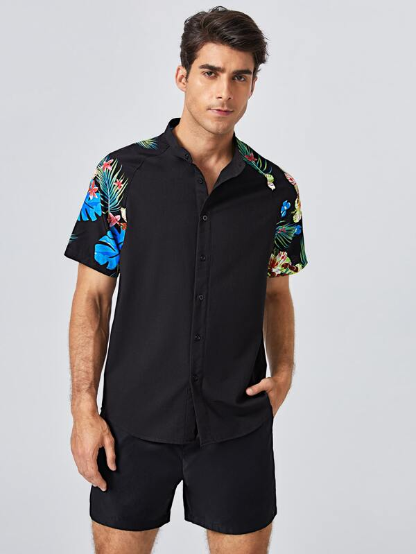 Black Short Sleeve Shirt with Tropical Print Detail