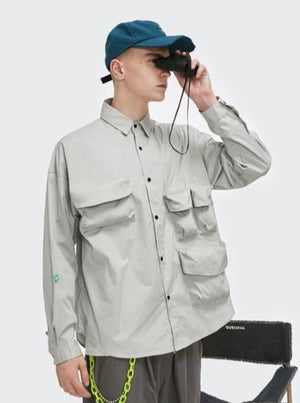 Multi-Pocket Oversize Shirt Grey 1