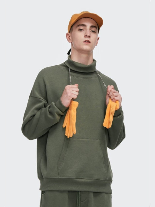 Turtleneck Sweatshirt Charcoal Green