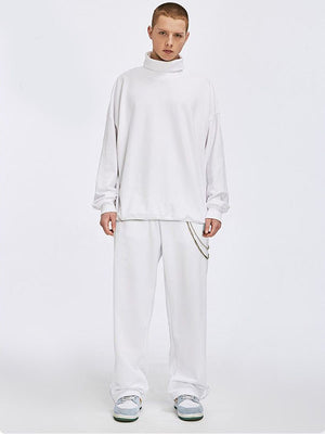 Rollup Neck Sweatshirt and Adjustable Cuff Sweatpants in White Color