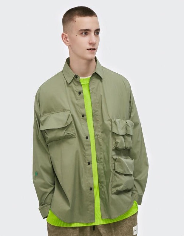 Multi-Pocket Oversize Shirt Green