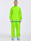 Rollup Neck Sweatshirt and Adjustable Cuff Sweatpants in Fluorescent Green Color