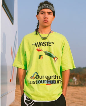 """Waste"" Flourescent Green T-Shirt 3"