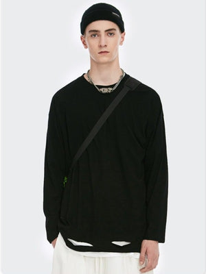 Black Ripped Long Sleeve T-Shirt