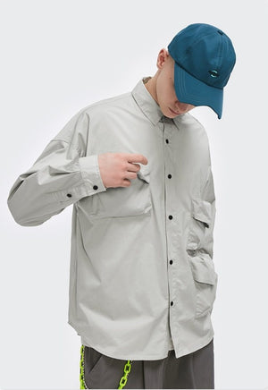 Multi-Pocket Oversize Shirt Grey 2