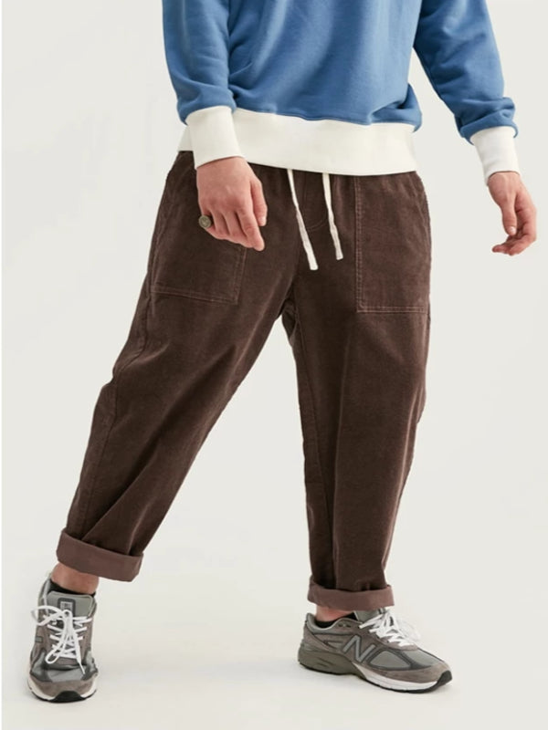 Loose Fit Corduroy Pants in Brown Color - This Is For Him