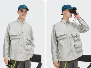 Multi-Pocket Oversize Shirt Grey 8