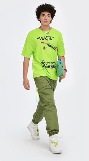 """Waste"" Flourescent Green T-Shirt 2"