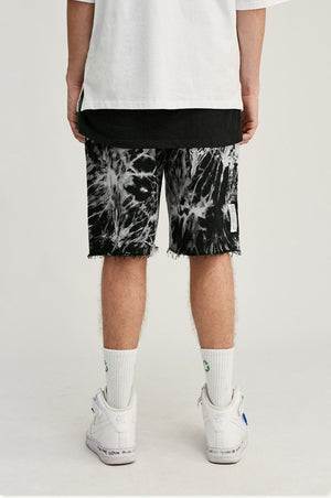 Black and White Tie Dye Shorts