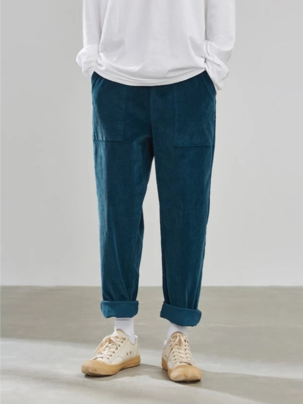 Loose Fit Corduroy Pants in Blue Color - This Is For Him