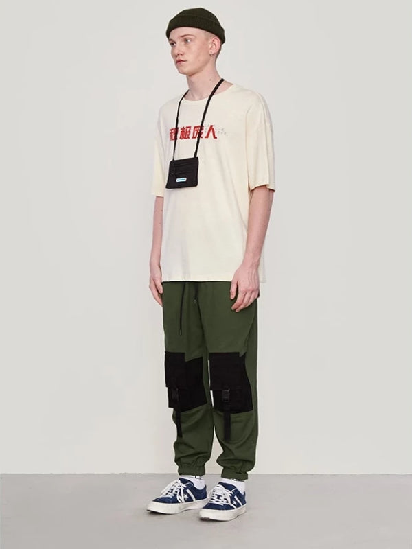 Color Block Pocket Cargo Pants in Army Green Color