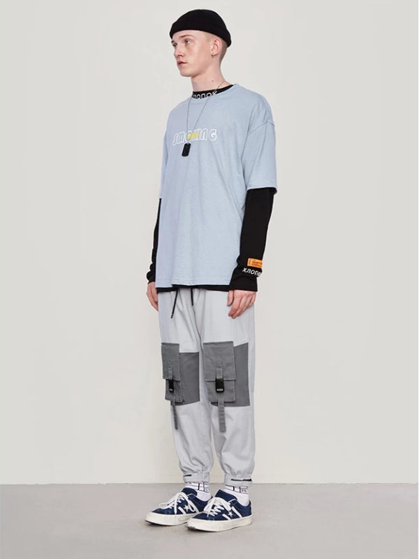 Color Block Pocket Cargo Pants in Grey Color