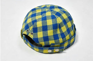 Yellow and Blue Chinese Style Round Cap
