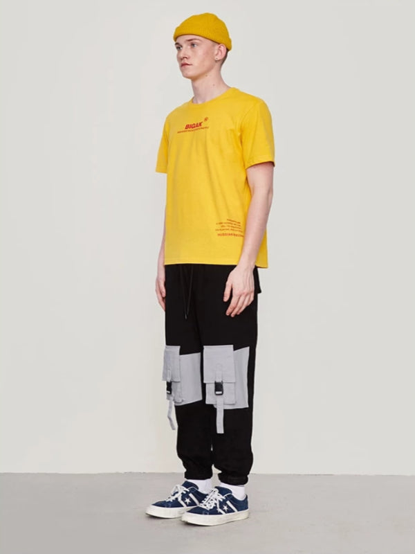 Color Block Pocket Cargo Pants in Black Color