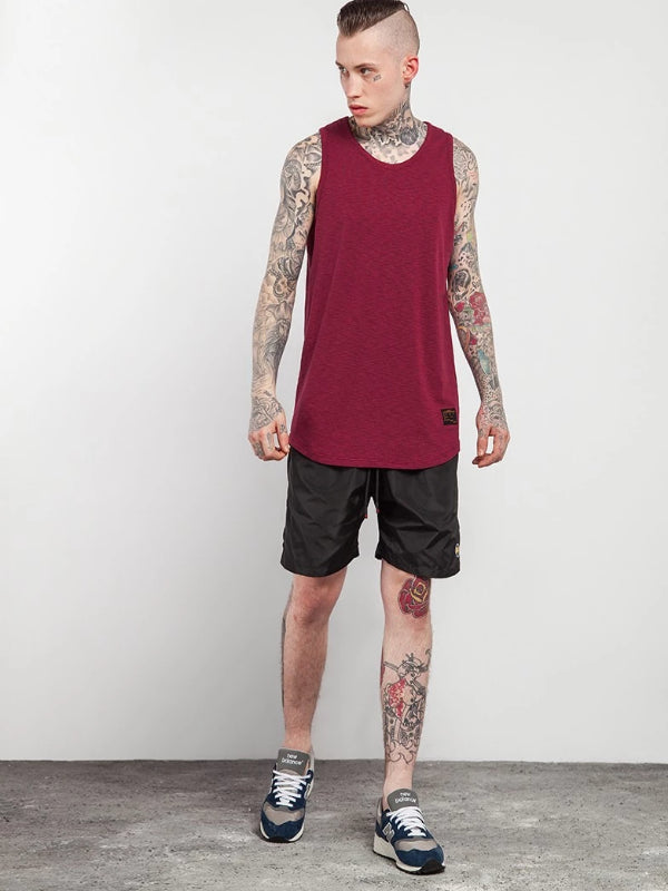 Extra Long Curved Hem Tank Top in Red