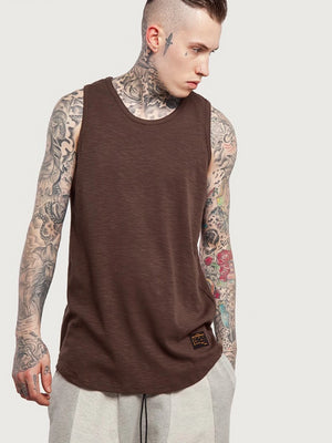 Brown Extra Long Curved Hem Tank Top