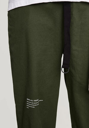 """Above All Things"" Belted Trousers in Army Green Color"